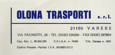 Carta intestata Olona Trasporti.